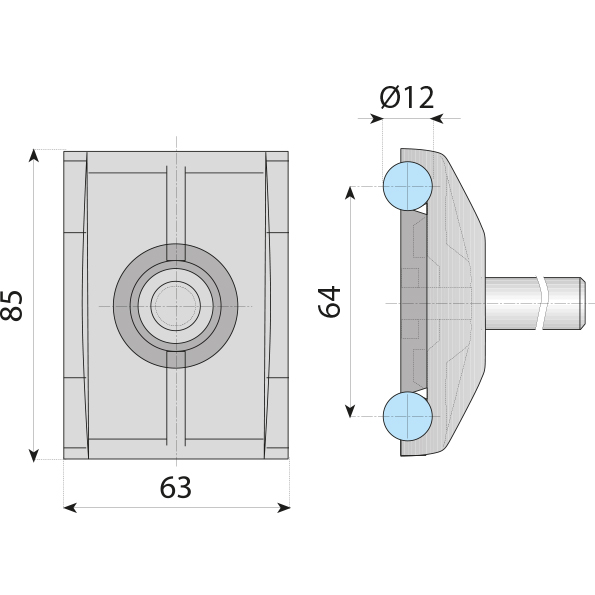 Double Clamp For 10-12mm Rod With Pin- Dotmar Engineering